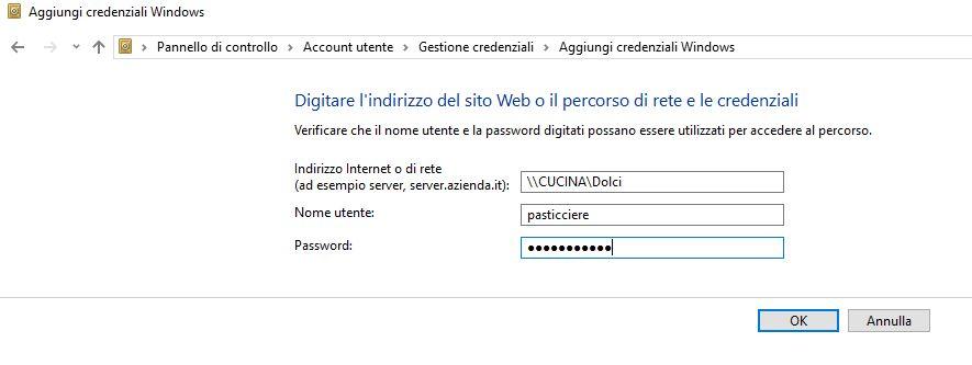 aggiungi credenziali Windows