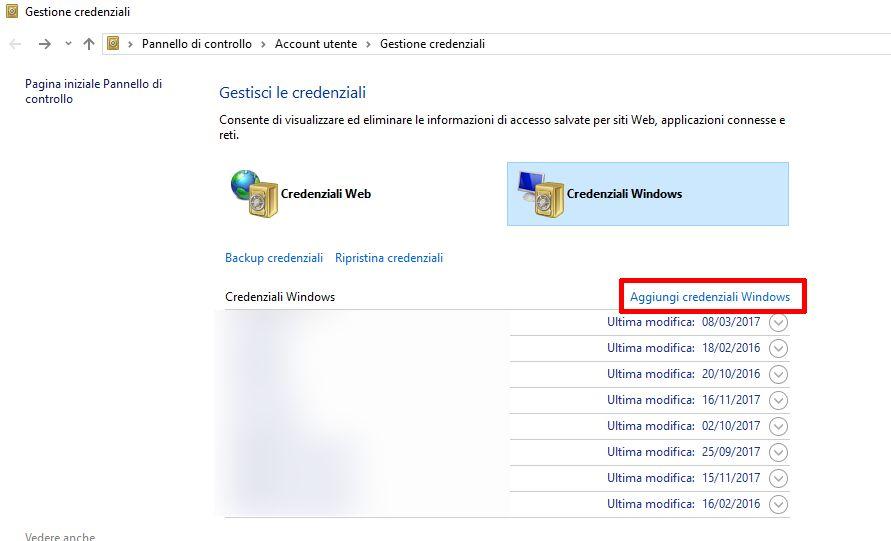 gestione credenziali windows