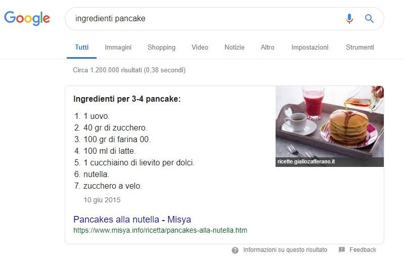snippet risultato 0 ingredienti pancakes
