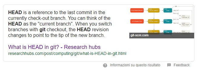 cosa è il puntatore head in Git