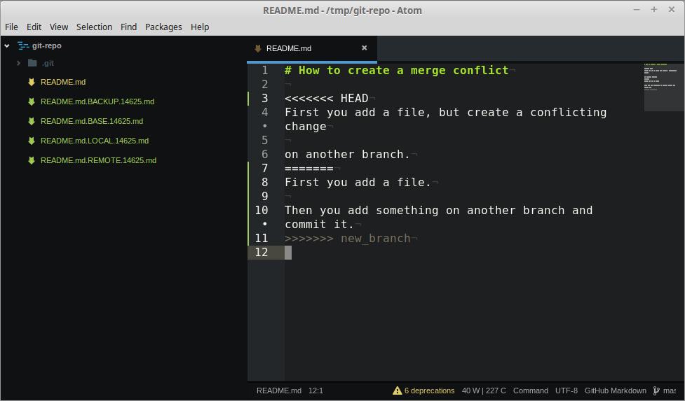 Git: segnalazione di conflitti in fase di merge