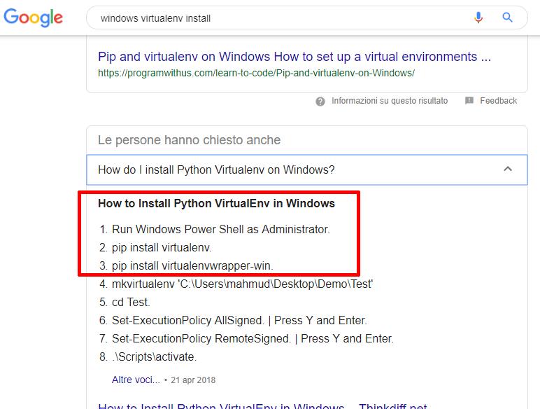 passaggi per l'installazione di Python Virtualenv su Windows